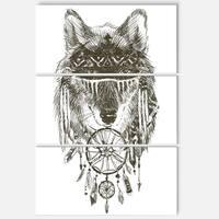 Designart 'Funny indian Wolf Warrior Watercolor' Contemporary Animal Art Metal Wall Art