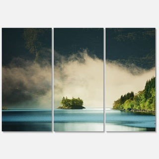 Designart 'Beautiful Lake By Green Mountains' Extra Large Landscape Glossy Metal Wall Art