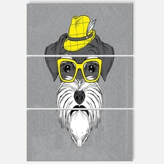 Designart 'Schnauzer with Hat and Glasses' Contemporary Animal Art Metal Wall Art