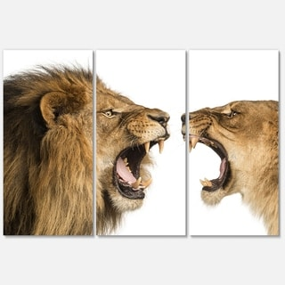 Shop Designart Lion And Lioness Roaring Animal Metal