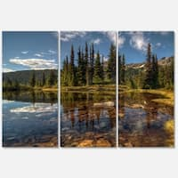 Designart 'Bright Clear Day and Clear Lake' Extra Large Landscape Art Metal Wall Art