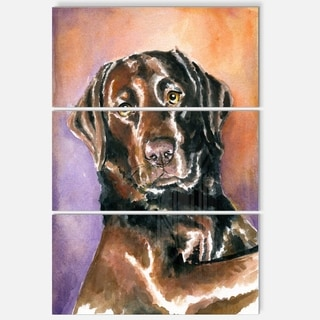Designart 'Brown Dog Watercolor' Animal Metal Wall Art