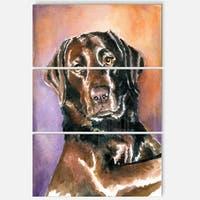 Designart 'Brown Dog Watercolor' Animal Metal Wall Art