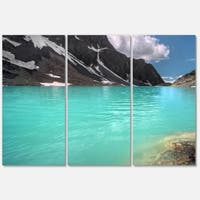 Designart 'Crystal Clear Mountain Lake' Landscape Glossy Metal Wall Art