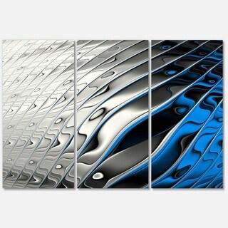 Designart 'Yellow Fractal Art Wave Design' Abstract Glossy Metal Wall Art Print