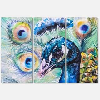 Designart 'Beautiful Peacock Watercolor' Animal Metal Wall Art
