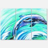Designart 'Jumping Dolphin Watercolor' Animal Glossy Metal Wall Art