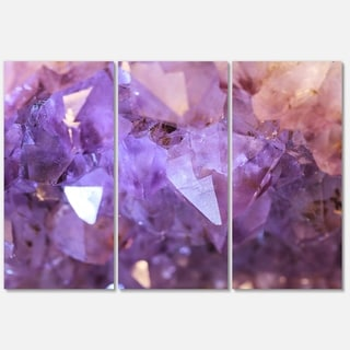 Designart 'Purple White Natural Amethyst Geode' Large Abstract Glossy Metal Wall Art