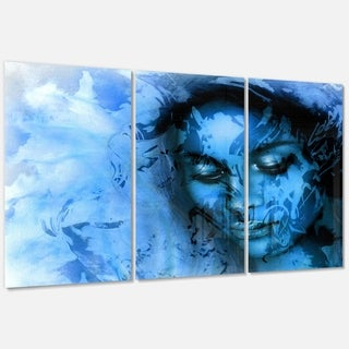 Designart 'Young Woman With Closed Eyes' Modern Portrait Glossy Metal Wall Art
