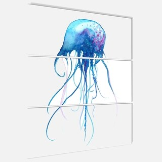 Designart 'Light Blue Jellyfish Watercolor' Animal Glossy Metal Wall Art