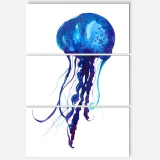 Designart 'Dark Blue Jellyfish Watercolor' Animal Glossy Metal Wall Art