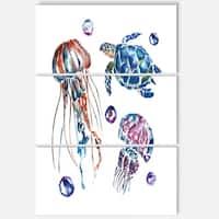 Designart 'Colorful Jellyfish and Turtles' Animal Glossy Metal Wall Art