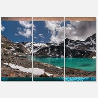 Designart 'Distant Mountains and Mountain Lake' Landscape Glossy Metal Wall Art