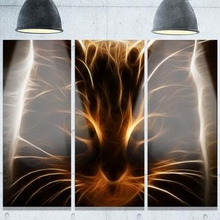 Designart 'Glowing Fractal Cat Illustration' Animal Glossy Metal Wall Art
