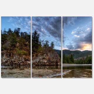 Designart 'Peaceful Evening at Mountain Creek' Landscape Glossy Metal Wall Art