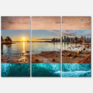 Designart 'Vancouver Downtown Panorama' Landscape Glossy Metal Wall Art