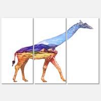 Designart 'Giraffe Double Exposure Illustration' Large Animal Glossy Metal Wall Art Print