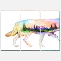 Designart 'Wolf Double Exposure Illustration' Large Animal Glossy Metal Wall Art Print