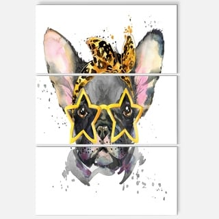 Designart 'French Bulldog with Star Glasses' Animal Glossy Metal Wall Art