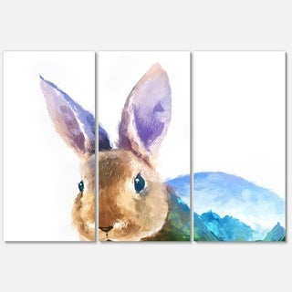 Designart 'Rabbit Double Exposure Illustration' Large Animal Glossy Metal Wall Art Print