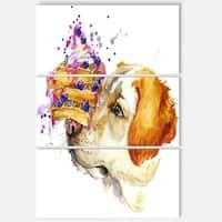 Designart 'Cute Labrador Dog Watercolor' Animal Glossy Metal Wall Art