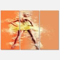 Designart 'Beautiful Ballerina in Yellow Tutu' Modern Portrait Glossy Metal Wall Art
