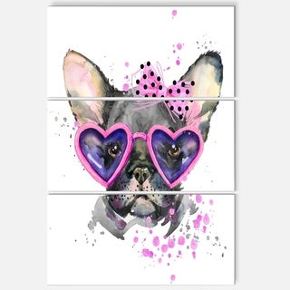 Designart 'Cute Dog with Pink Glasses' Animal Glossy Metal Wall Art