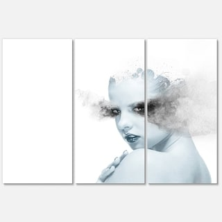 Designart 'Beautiful Young Woman Double Exposure' Portrait Glossy Metal Wall Art Print