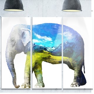 Designart 'Elephant Double Exposure Illustration' Large Animal Glossy Metal Wall Art Print
