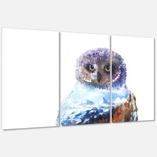 Designart 'Owl Double Exposure Illustration' Large Animal Glossy Metal Wall Art Print