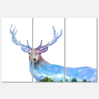 Designart 'Deer Double Exposure Illustration' Large Animal Glossy Metal Wall Art Print