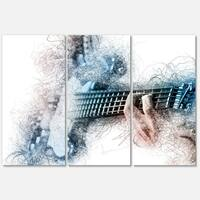 Designart 'Man Playing A Guitar Watercolor' Modern Glossy Metal Wall Art Print