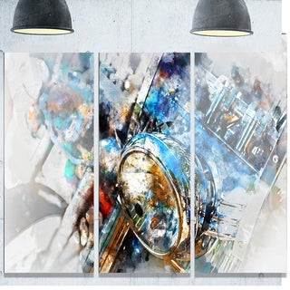 Designart 'Motorcycle Headlight Watercolor' Modern Glossy Metal Wall Art Print