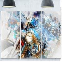 Designart 'Motorcycle Headlight Watercolor' Modern Glossy Metal Wall Art Print