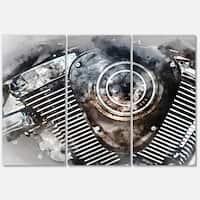 Designart 'Motorcycle Engine Watercolor' Modern Glossy Metal Wall Art Print