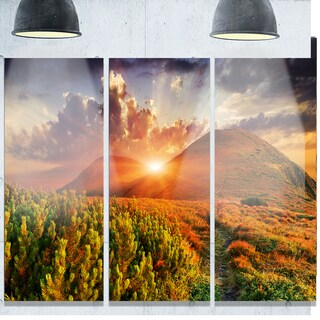 Designart 'Colorful Fall Landscape in Mountains' Large Landscape Art Glossy Metal Wall Art