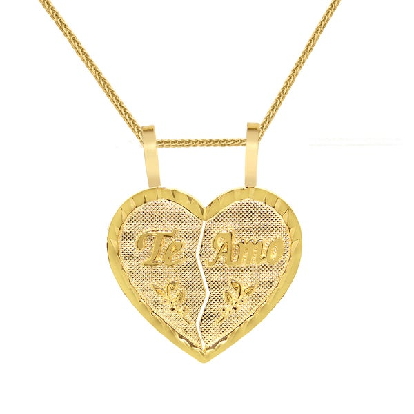 14K Yellow Solid Gold I Love You Heart Charm 2-Piece Pendant with 0.8mm Box Chains