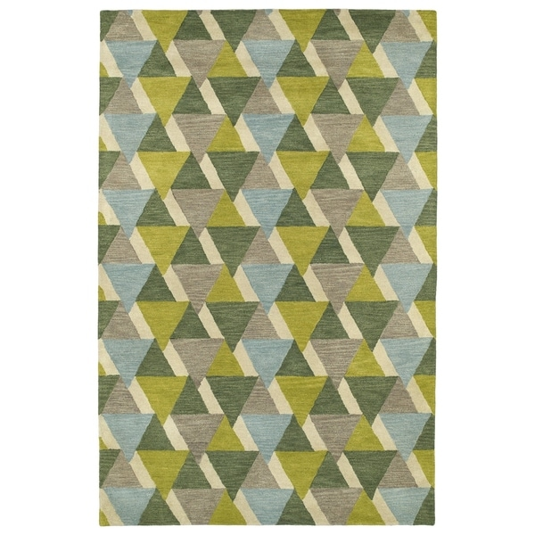 Hand-Tufted Lola Mosaic Lime Green Tiffany Wool Rug - 2' x 3'