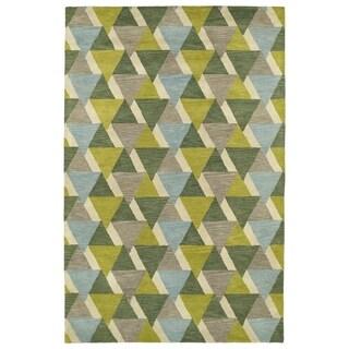 Hand-Tufted Lola Mosaic Lime Green Tiffany Wool Rug (2' x 3')