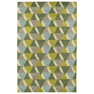 Hand-Tufted Lola Mosaic Lime Green Tiffany Wool Rug (8'0 x 11'0)