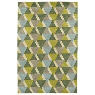 Hand-Tufted Lola Mosaic Lime Green Tiffany Wool Rug (8' x 11')