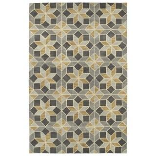 Hand-Tufted Lola Mosaic Grey Wool Rug (5'0 x 7'9)