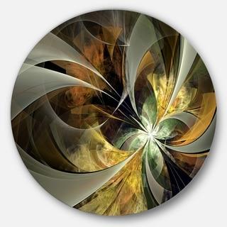 Designart 'Symmetrical Gold Fractal Flower' Modern Floral Glossy Metal Wall Art