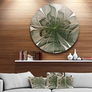Designart 'Symmetrical Green Fractal Flower' Modern Floral Glossy Metal Wall Art
