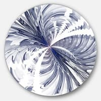 Designart 'Symmetrical Blue Fractal Flower' Modern Floral Glossy Metal Wall Art