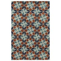 Hand-Tufted Lola Mosaic Turquoise Wool Rug - 5' x 7'9
