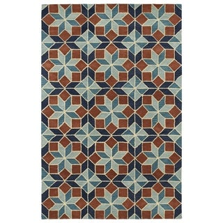 Hand-Tufted Lola Mosaic Turquoise Wool Rug (8'0 x 11'0)