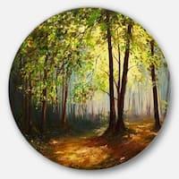 Designart 'Summer Forest' Landscape Glossy Metal Wall Art