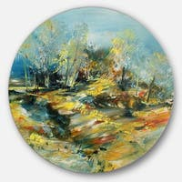 Designart 'Abstract Landscape' Abstract Glossy Metal Wall Art