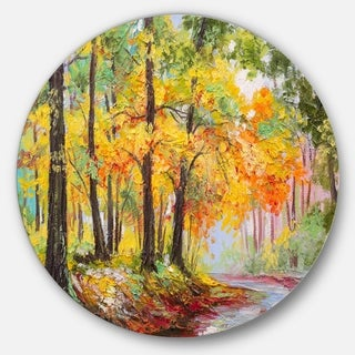 Designart 'Colorful Autumn Forest' Landscape Glossy Metal Wall Art